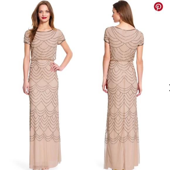Adrianna Papell Dresses Short Sleeve Beaded Blouson Gown Poshmark